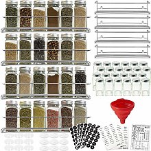 Stainless Steel Spice Racks with 24 Glass Spice