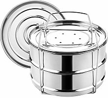 Stainless Steel Stackable 2-Tier Steamer Pot