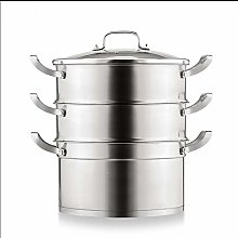 Stainless Steel Steamer, 2 Layers Thick Soup Pot