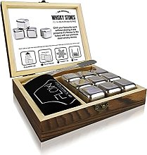 Stainless Steel Whisky Stones Gift Set with Wooden