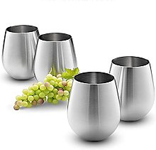 Stainless Steel Wine Glasses,URMAGIC 4 Pcs 520ml