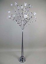 Standard Orchid Silver Metal Tree LED Floor Lamp