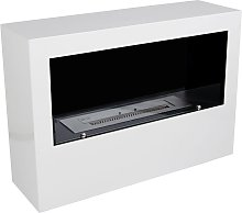 Standing 1-sided bio fireplace in white