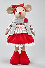Standing Mouse Christmas Decoration - Girl