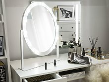 Standing Vanity Mirror with LED White 50 x 60 cm Oval Hollywood Illuminated Bulbs Dressing Table