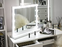 Standing Vanity Mirror with LED White 50 x 60 cm Rectangular Hollywood Illuminated Bulbs Dressing Table