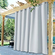 StangH Patio Curtain for Outdoor - Solid Heavy Duty Grommet Waterproof Outdoor Drape, Sun Blocking Insulated Drape for Cabana/Outside Area Decor, Greyish White, W100 x L95, 1 Piece