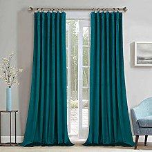 StangH Teal Velvet Curtains Backout - Bedroom