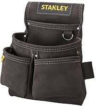 STANLEY Leather Tool Belt Pouch, Double Pocket