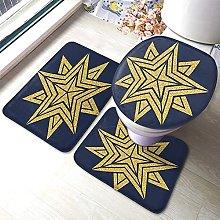 Star Bathmat,Geometric Star With Golden Slitter