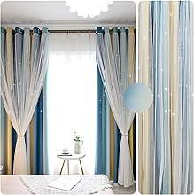 Star Blackout Curtain,Double Layer Curtain Panel
