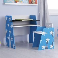 Star Blue and White Desk and Chair