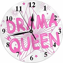 Star Clock Stars Crowns Light Quote Drama Queen