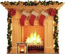 Star Cutouts Christmas Fireplace Cardboard Cutout