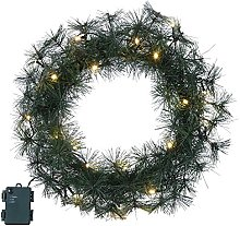 Star Fir Wreath ca. 45 cm x 45 cm, 20 Warm White