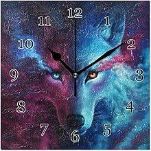 Star Galaxy Animal Wolf Wall Clock Silent