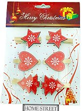 Star, Heart And Christmas Tree Wooden Pegs In A