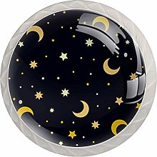 Star Moon Pattern Glass Cabinet Knobs Knobs for