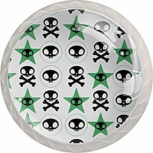 Star Skull 4PCS Drawer Knobs,Cabinet Knobs,Drawer