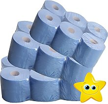 STAR SUPPLIES 6 x BLUE ROLL 2Ply centrefeed rolls,