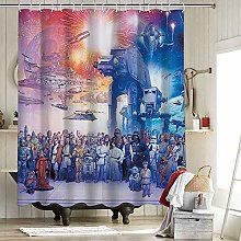 Star Wars Galaxy Wall Shower Curtain Waterproof