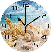Starfish Seashell Beach Wall Clock Silent Non