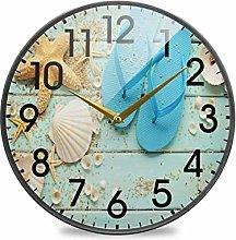 Starfish Seashell Sand on Wooden Summer Theme