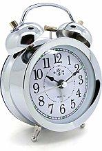 Starlet24 12 cm Retro Bell Alarm Clock Silver