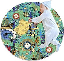Starry Sky Moon And Sun, Printed Round Rug for