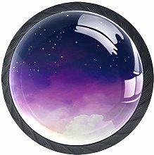 Starry Sky Purple Space Cabinet Door Knobs Handles