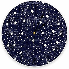 Starry Space PVC Wall Clock, Silent Non-Ticking