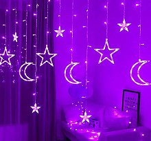 Stars Curtain Light, 12 Stars 138 LED Star Moon