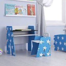 Stars Design Kids Desk With Chair In Blue And White