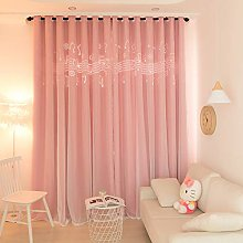 Stars Double Layer Blackout Curtains,with White