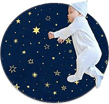 Stars, Printed Round Rug for Kids Family Bedroom