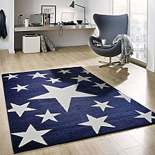 Stars Rug Fluffy Quality Blue White Synthetic