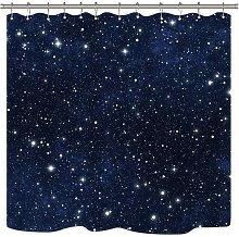 Stars Space Shower Curtain Dark Blue Cosmic Starry