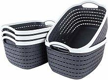 STARVAST 5 Pack Plastic Storage Basket, Portable