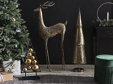 Statue Gold Reindeer Metal Gloss Finish 126 cm