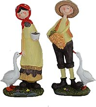 Statues,Pastoral Style Couples Goose Resin