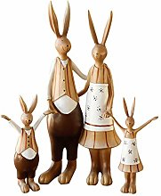 Statues Rabbit Family Resin Statue Decoration Home