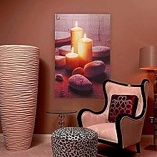 Statues,Romantic Led Candle Stone Painting