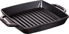 STAUB Cast Iron Double Handle Grill Pan, Black