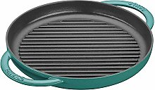 Staub Cast Iron Grill Pan, 10in, Turquoise