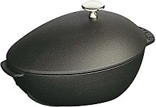 Staub Mussel Pot with Lid, 25 cm, Matt Black,