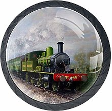 Steam Train Painting Cabinet Door Knobs Handles