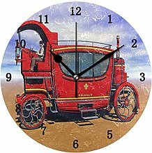 Steam Train Wall Clock, Silent Non Ticking Battery