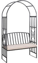 Steel Outdoor Elegant Garden Arbor Arch with Bench