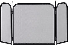 Steel Spark Guard, Three-Panel Fireplace Fender, Oven Screen, H x W 52.5 x 97 cm, Black - Relaxdays
