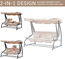 Steel Swing Chair Garden Hammock Convertible Canopy Bed 3 Seater - Beige - Outsunny